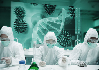Scientists working in protective suite with futuristic interface