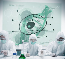 Lab workers experimenting