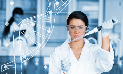Serious chemist working with white dna helix diagram inteface
