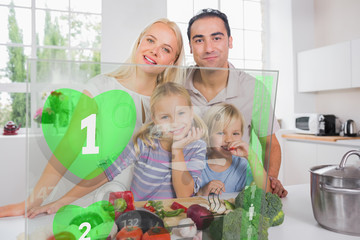 Happy family using interface to prepare dinner
