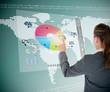 Businesswoman using colorful transparent futuristic interface