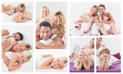 Collage of family in bed