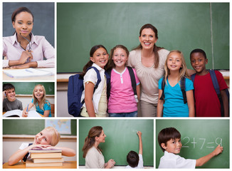 Collage of primary school pupils and teachers
