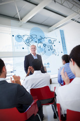 Business people clapping stakeholder standing in front of map di