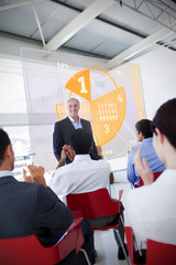 Business people clapping stakeholder standing in front of yellow