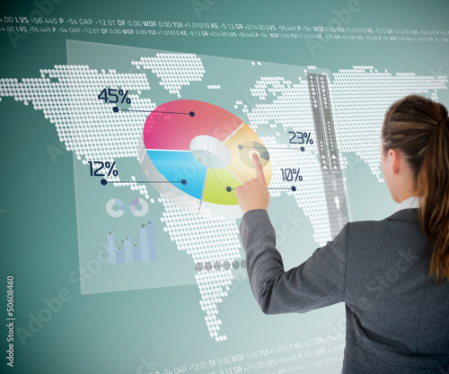 Businesswoman using colorful transparent futuristic interface