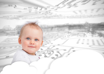 Portrait of a cute baby over clouds