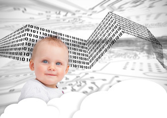 Portrait of a cute baby over clouds and binary codes
