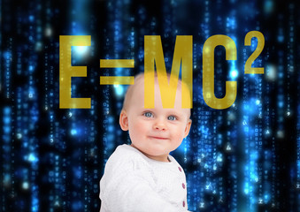 Portrait of baby with physic formula