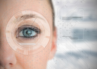 Close up of woman eye analyzing charts