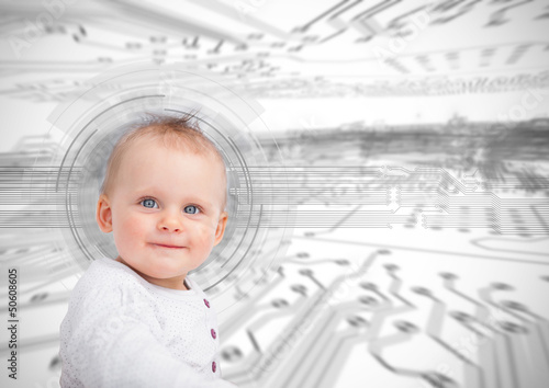 Portrait of a cute baby over futuristic interface