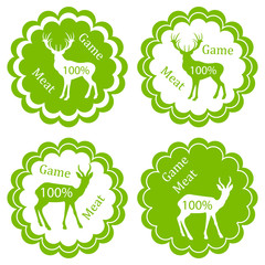 Game meat vector background label stamp green concept