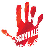 scandale, stop, non : main rouge