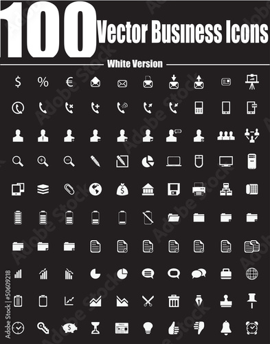 100 Vector Business Icons - White Version