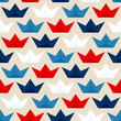 Seamless Pattern Paperboats & Waves Blue/White/Red Beige