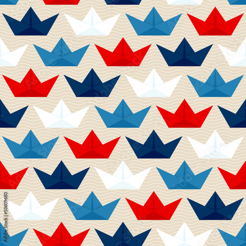 Seamless Pattern Paperboats & Waves Blue/White/Red Beige - 50609680