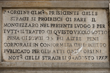 Rome marble inscription edict order 1757