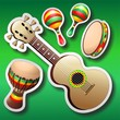 Guitar Maracas Bongo Stickers on Green-Chitarra maracas Bongo