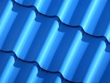 New blue roofing from stainless metal plate