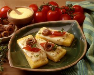 Polenta con formaggio fuso