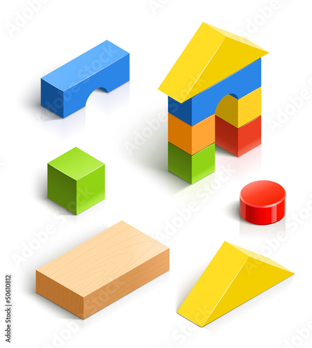 brick house. wooden toy vector illustration isolated on white