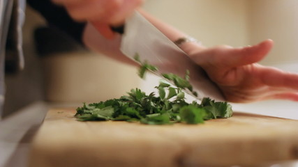 Chopping Coriander.