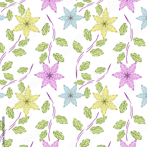 Seamless Vector flower pattern.