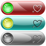 Heart and arrow. Vector internet buttons.