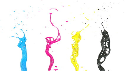 cmyk color splashes in slow motion (FULL HD)
