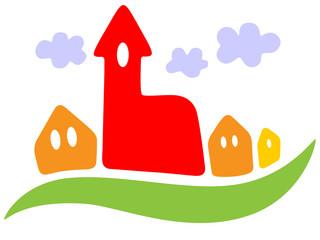 Logo einer Kleinstadt mit Wolken – Vektor und freigestellt