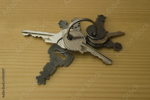 Volume of different types and shapes of metal house keys