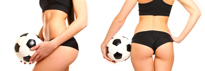 Woman with a soccer ball, side view and rear