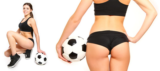 Young woman posing with a soccer ball