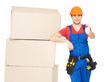 worker delivery man with  boxes showing thumbs up