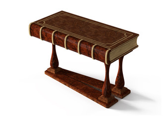 decorative table in the form of ancient book