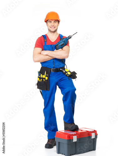 Handyman with tools full portrait isolated