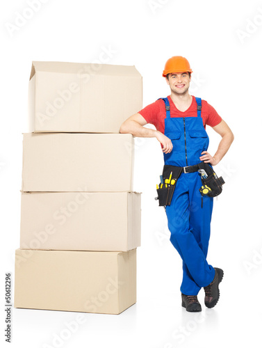 delivery worker man with paper boxes
