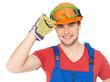 Portrait of happy handyman in uniform