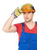 portrait of thinking handyman in uniform