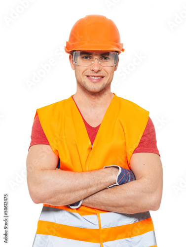 Portrait of happy handyman in uniform