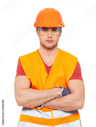 portrait of thinking handyman in orange uniform