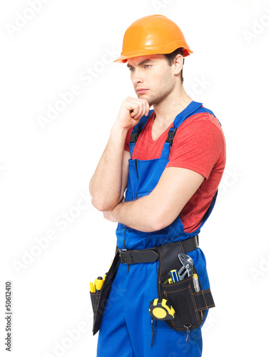 Worker wearing the helmet  thinking