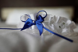 Closeup picture of brides garter