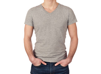 young man wearing blank gray t-shirt isolated on white backgroun