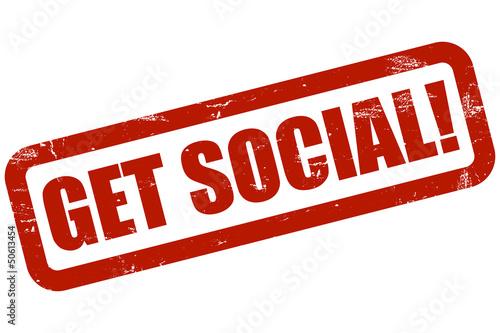 Grunge Stempel rot GET SOCIAL!