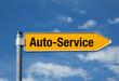Gelber Pfeil mit blauem Himmel AUTO-SERVICE
