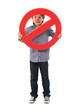Portrait Of Boy Holding Prohibit Sign