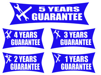 Set of guarantee label on blue background