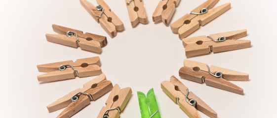 clothespins in a circle - green