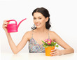 Housewife With Flower In Pot A...